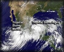 """Ingrid"" y ""Manuel"" / Imagen: NASA"